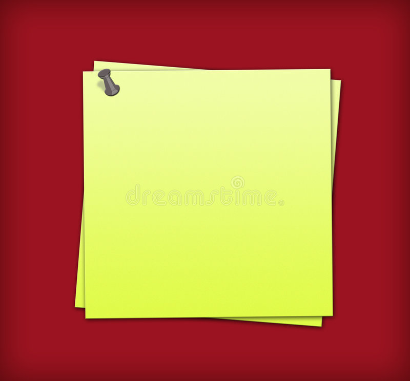 Sticky Notes. Yellow Sticky Notes on the brown background stock illustration