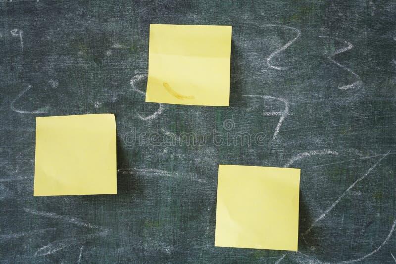 Sticky notes on chalkboard stock photo