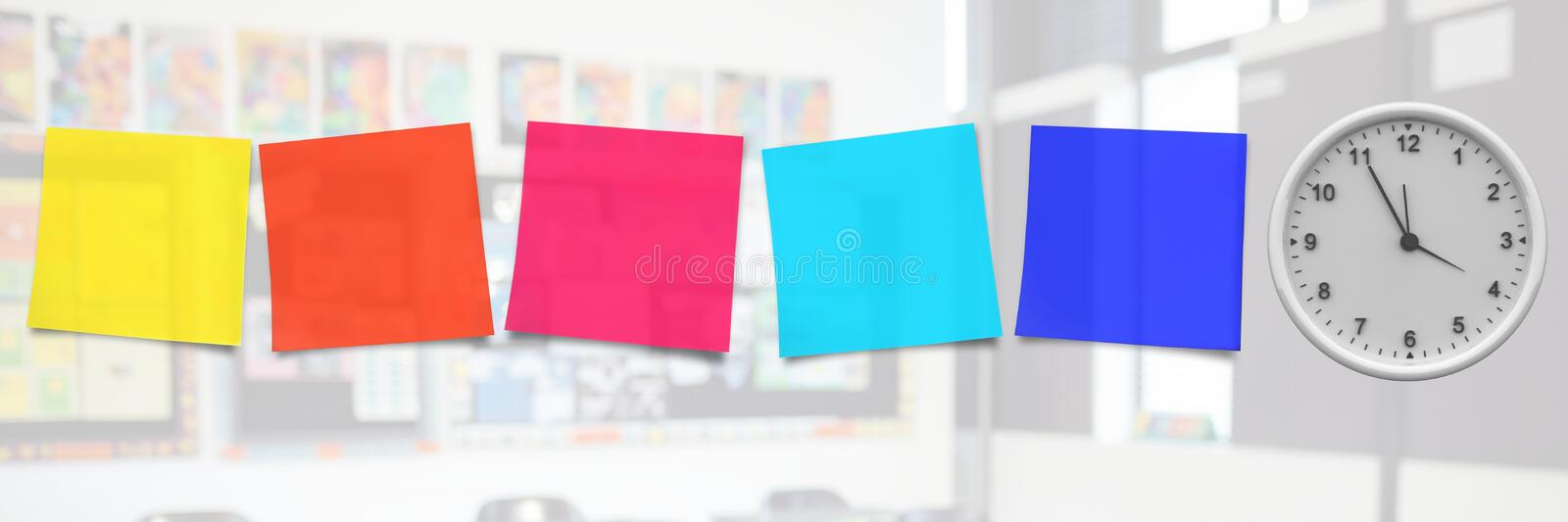 sticky notes with clock stock photos