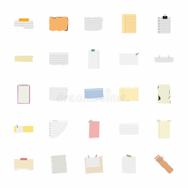 Sticky Notes Flat Icons Pack vector illustration