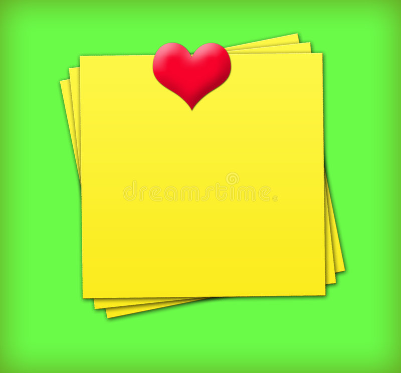 Sticky Notes with heart. Yellow Sticky Notes with heart royalty free illustration