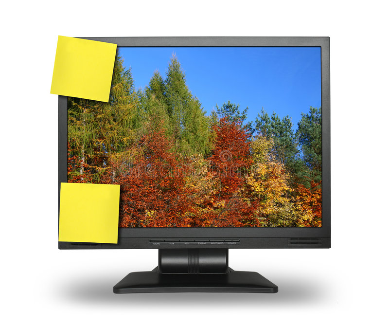 Sticky Notes On LCD Screen Stock Images
