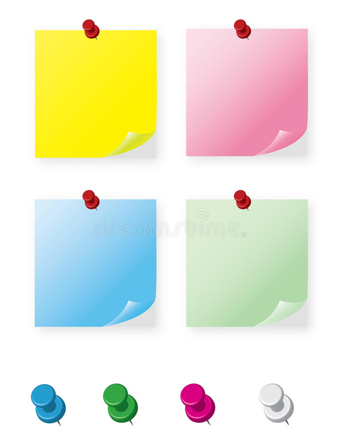 Download Sticky Notes And Pins Collection Stock Vector - Image: 37514475