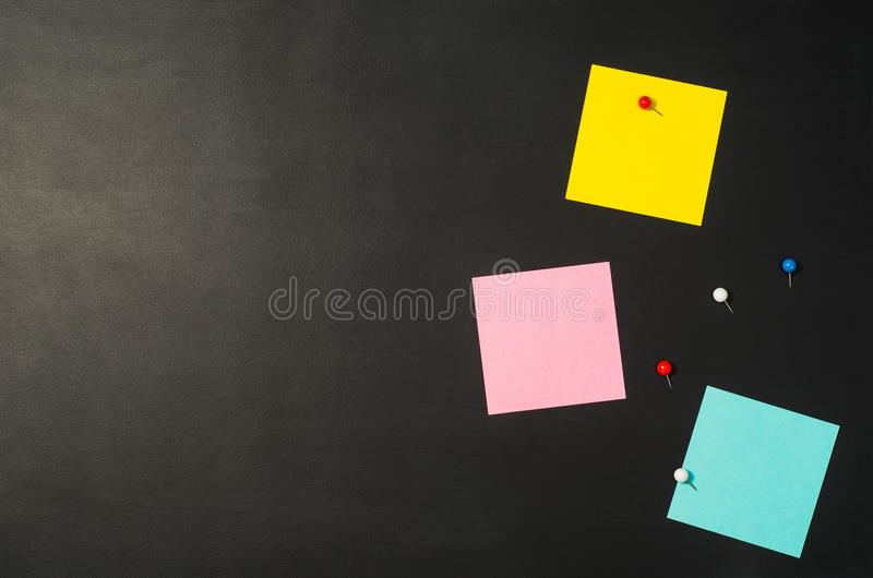 Sticky notes reminder seen from above. Top view stock photography