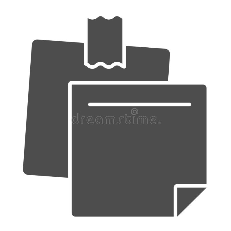 Sticky notes solid icon. Paper stickers vector illustration isolated on white. Notepaper glyph style design, designed. For web and app. Eps 10 vector illustration