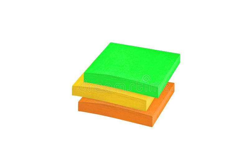 Sticky notes stack isolated on white stock image