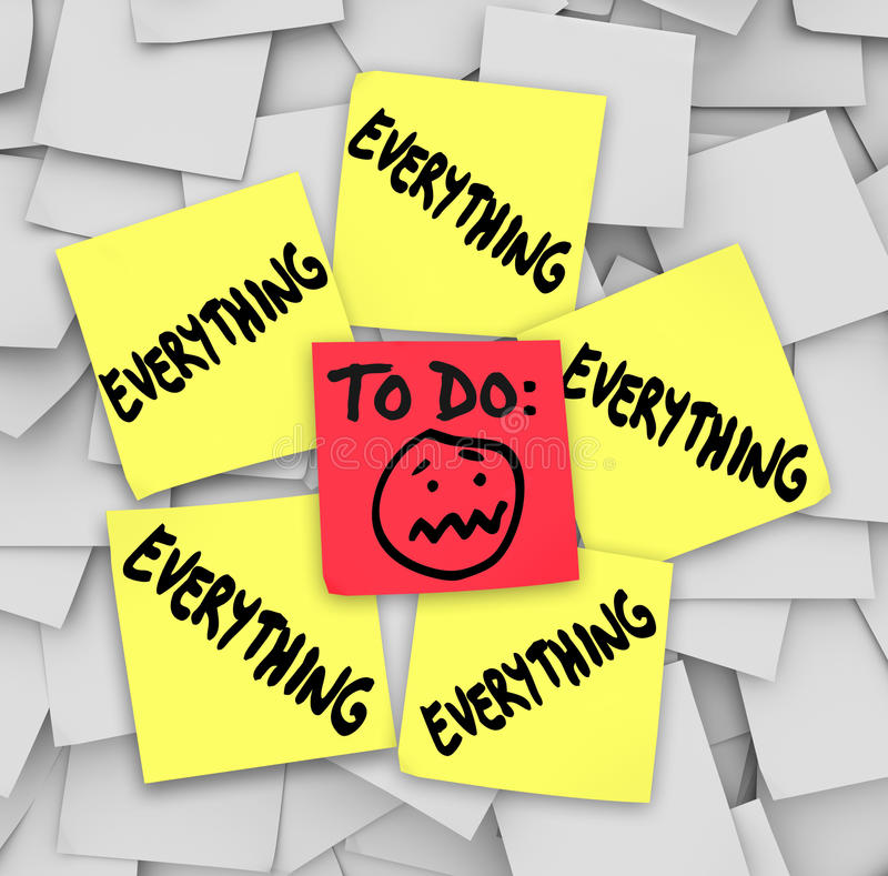 Sticky Notes To Do List Everything Overwhelming Tasks vector illustration