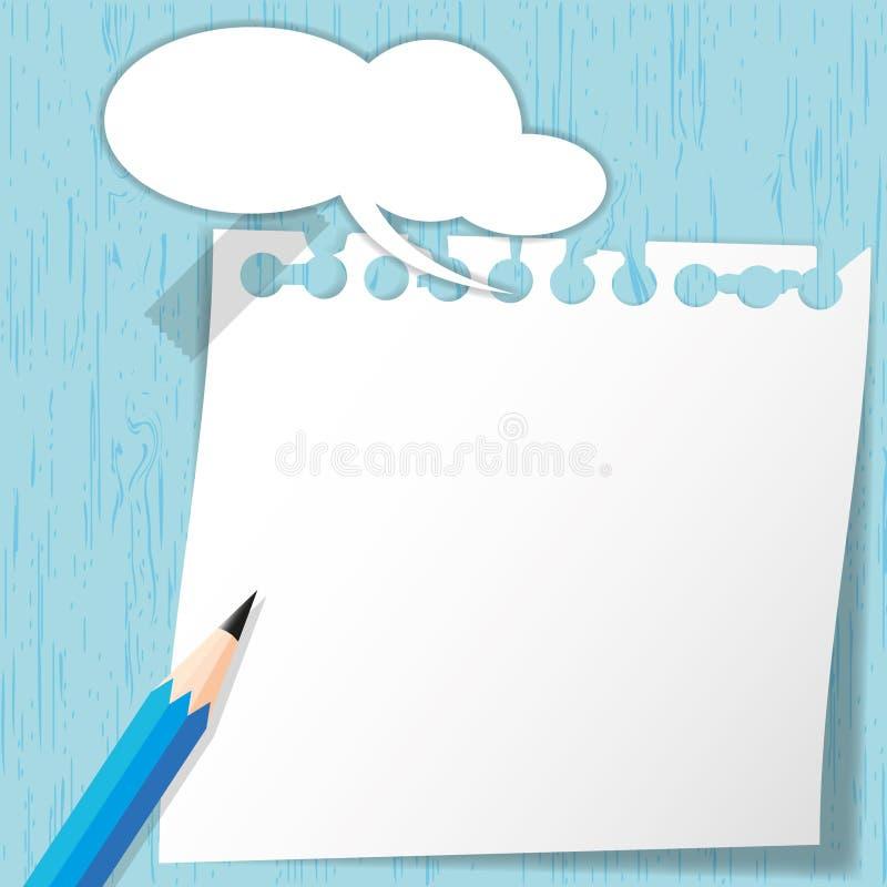 Sticky pad on blue wooden. Backgrounds royalty free illustration