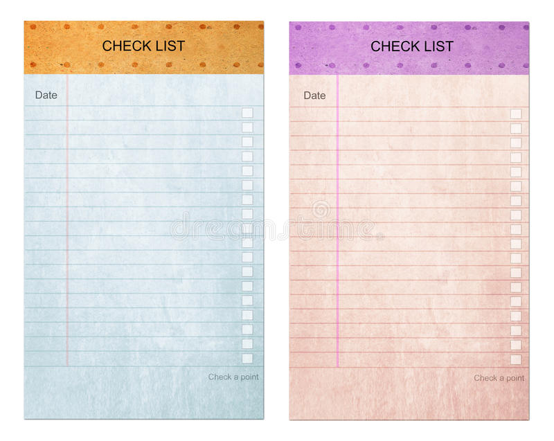 Sticky pad check list form on note old paper stock images