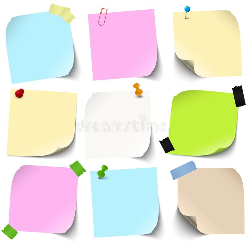 Sticky papers collection. Vector illustration of an collection of different sticky papers with pin needle or adhesive stripes office accessories, note, flyers royalty free illustration