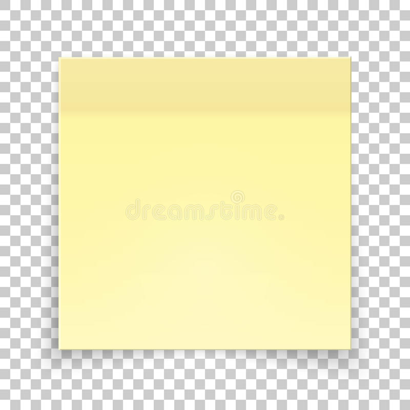 Sticky piece of yellow paper, sticker note for reminding, list, notice, info. Vector illustration of paper template isolated royalty free illustration