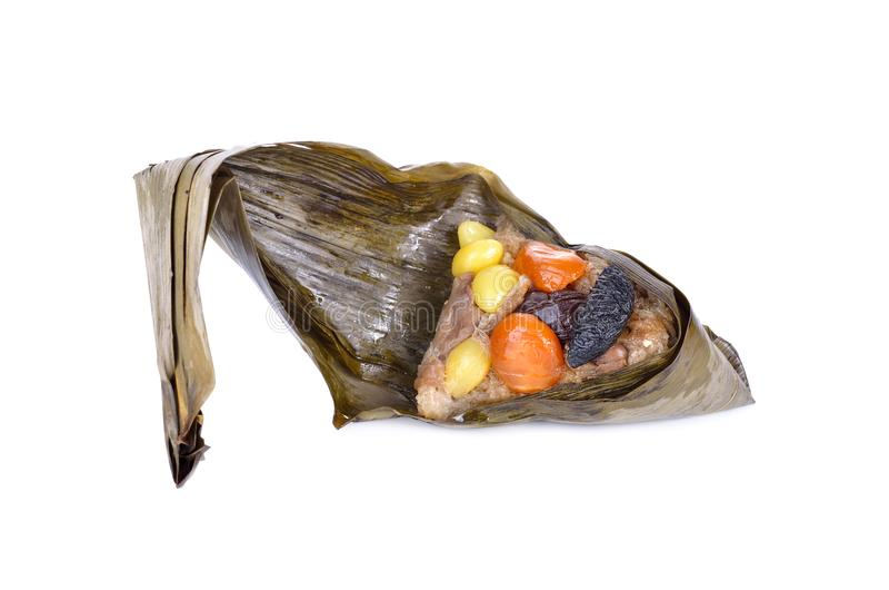 Sticky rice dumpling or Zongzi on white background stock photography