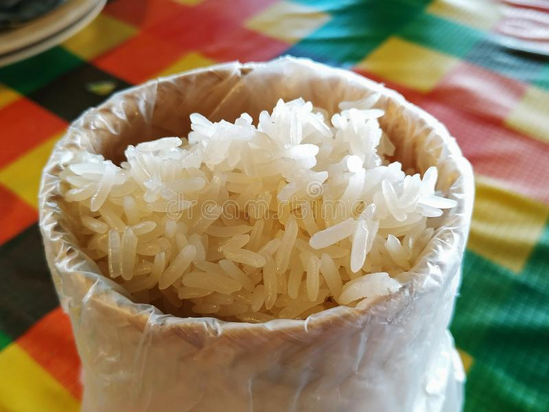 Sticky rice is packed in Kratib from bamboo stock photo