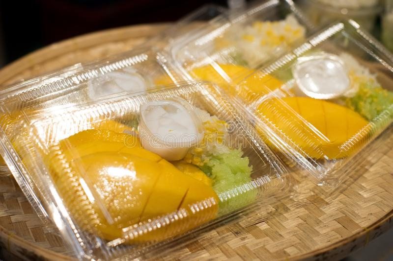 Sticky Rice with Yellow Mango and Durian in box stock image
