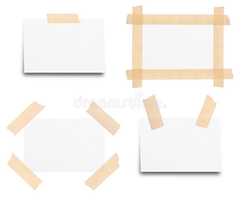 Sticky tape on note paper isolated royalty free stock photos