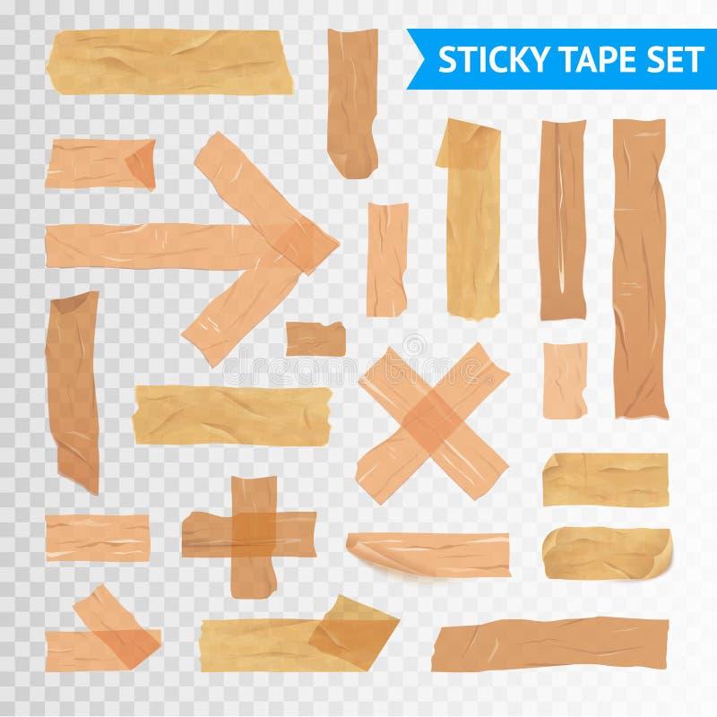 StickyTape paski Ustawiają Przejrzystego tło ilustracja wektor