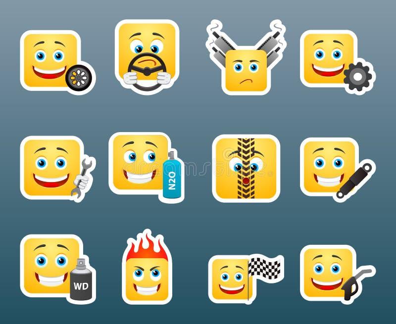 Sticres do sorriso do mecânico ajustados ilustração royalty free