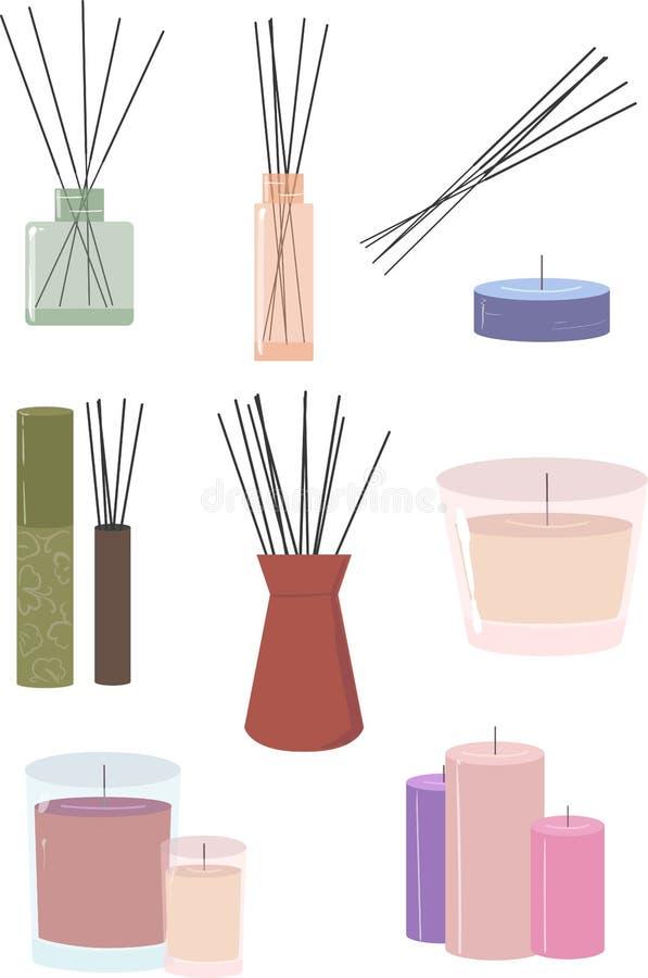 Stics e velas do aroma ilustração do vetor