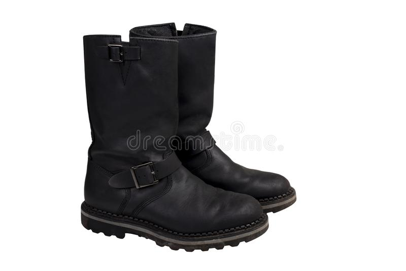 Stiefel aus schwarzem Leder stockbilder