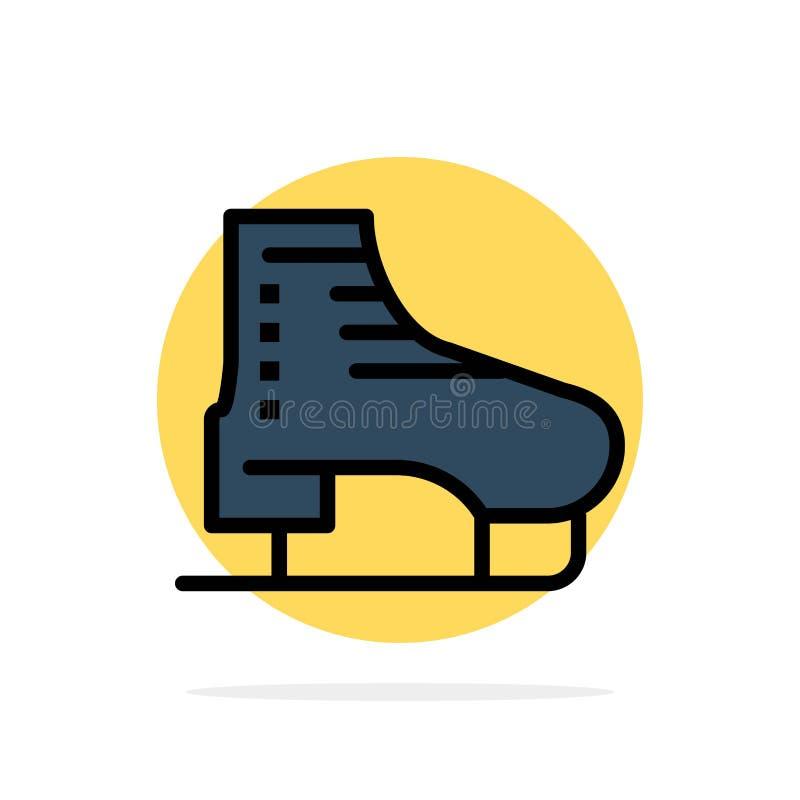 Stiefel, Eis, Rochen, Rochen, eislaufende flache Ikone Farbe des abstrakten Kreis-Hintergrundes lizenzfreie abbildung