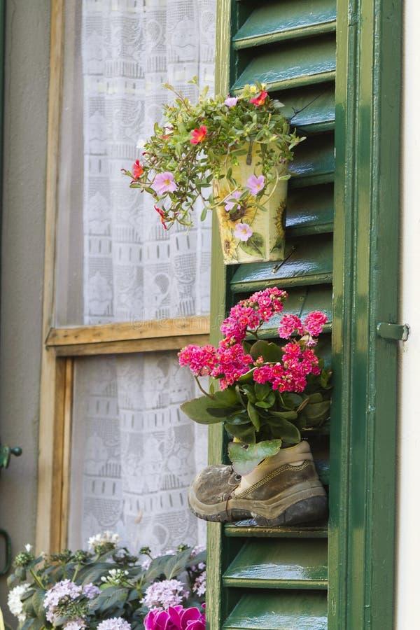 Stiefel für Topf auf Fenster stockbilder
