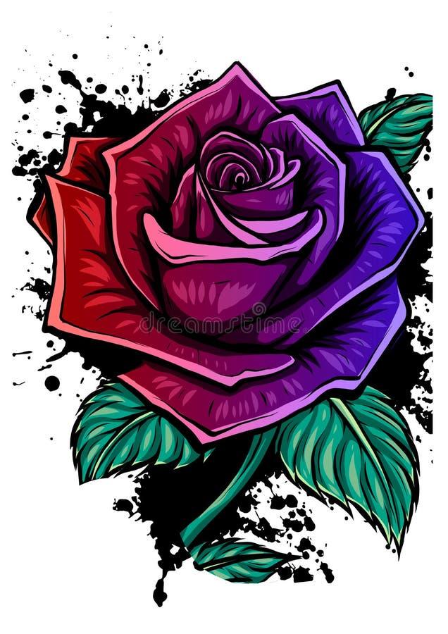 Stieg gesetztes Blumenstraußmit blumenbündel des Vektors der rosa, roten, blauen weißen Weinlese die grünen goldenen Blätter der  vektor abbildung