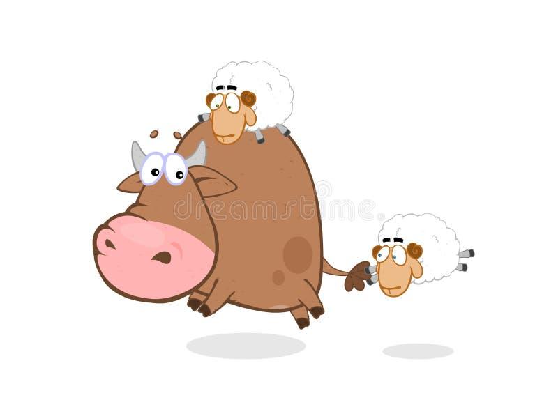 Stier & schapen vector illustratie