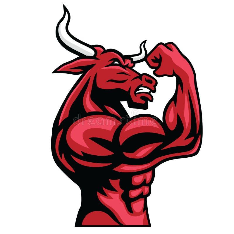 Stier-Bodybuilder, der seinen muskulösen Körper aufwirft stock abbildung