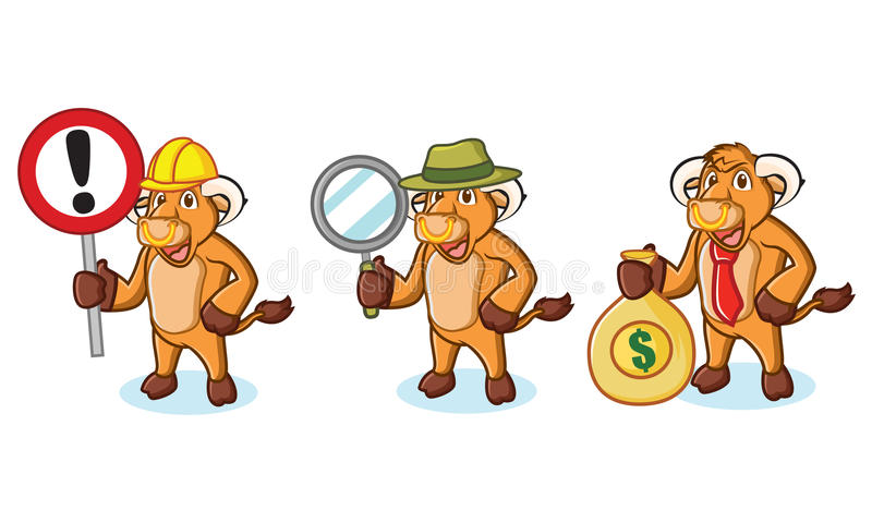 Stier-Creme-Maskottchen mit Zeichen lizenzfreie abbildung