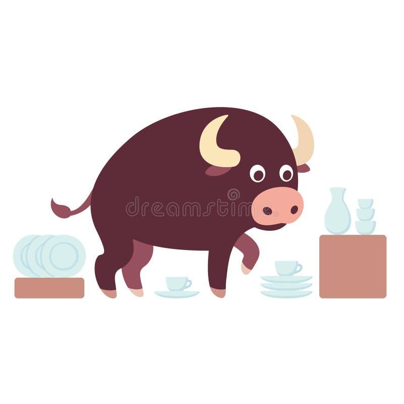 Stier in einem Porzellangeschäft lizenzfreie abbildung