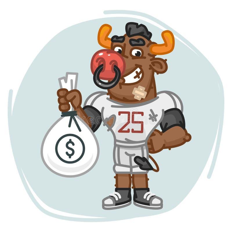 Stier-Fußball-Spieler hält Geld-Tasche vektor abbildung