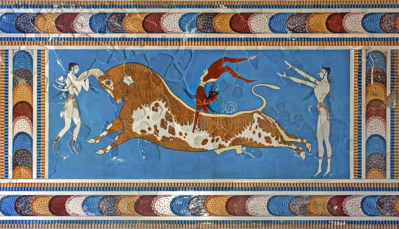 Stier-springende fresko, Knossos-paleis, Kreta, Griekenland stock afbeelding