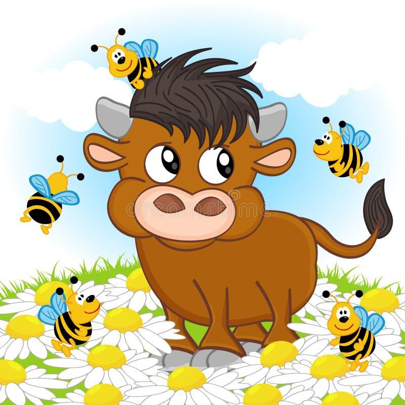 Stier und Biene lizenzfreie abbildung