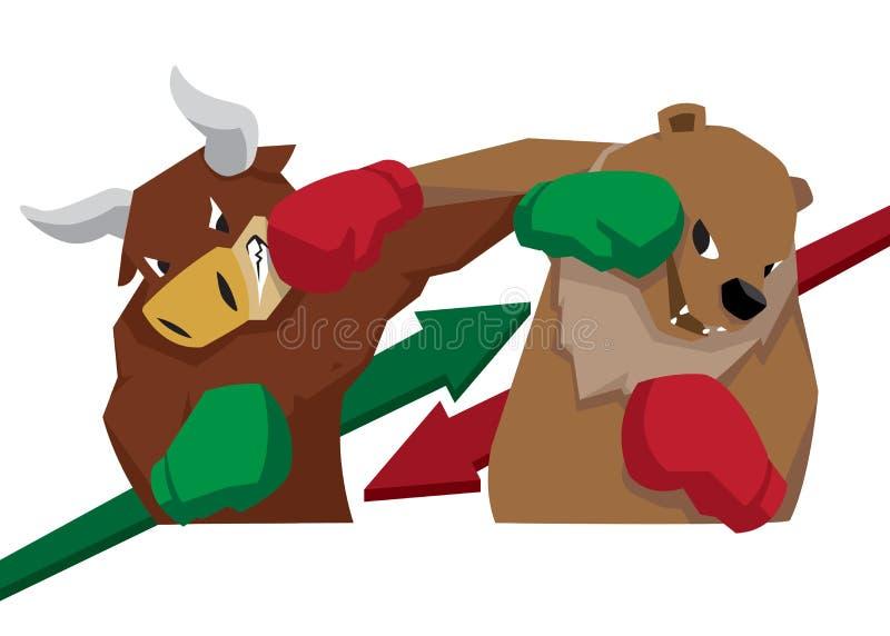 Stier versus beersymbool van van de de illustratiepijl van de voorraadmarkttendens het groene rood royalty-vrije illustratie