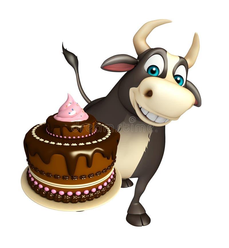 Stier-Zeichentrickfilm-Figur mit Kuchen lizenzfreie abbildung