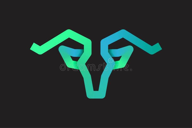 Stier, Ziege, Hornlogo Entwurfs-Inspiration lokalisiert auf weißem Hintergrund vektor abbildung