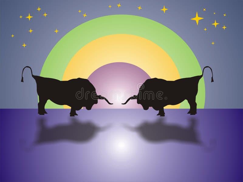 Stieregevecht in de nacht stock illustratie