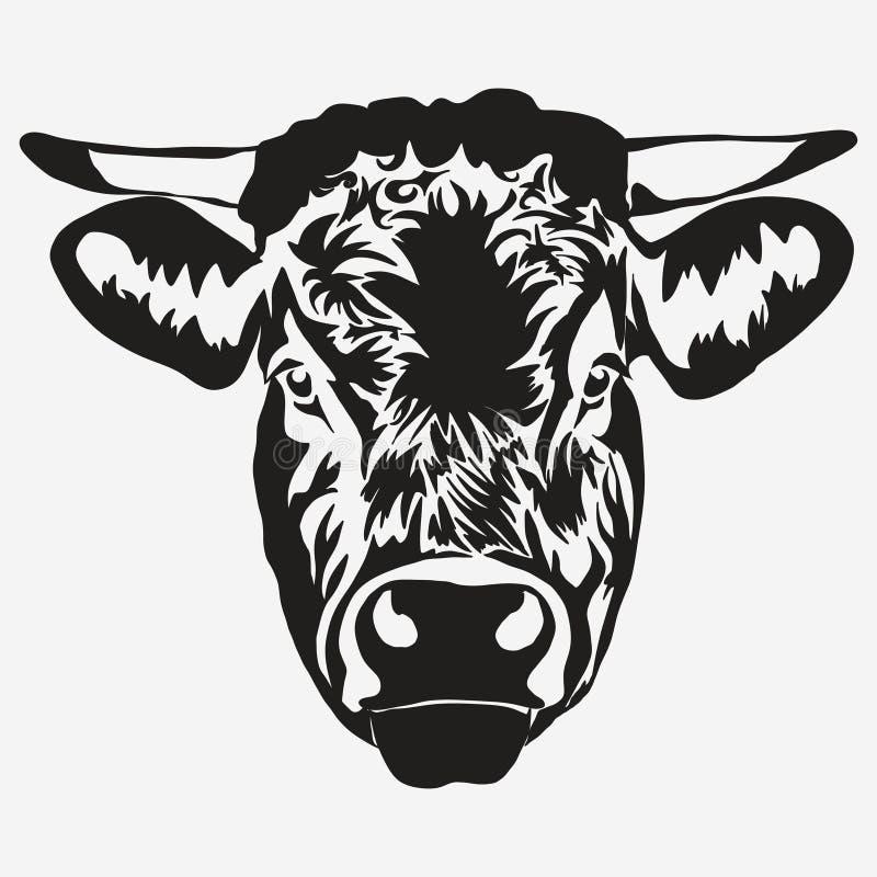 Stieren hoofdvector royalty-vrije illustratie