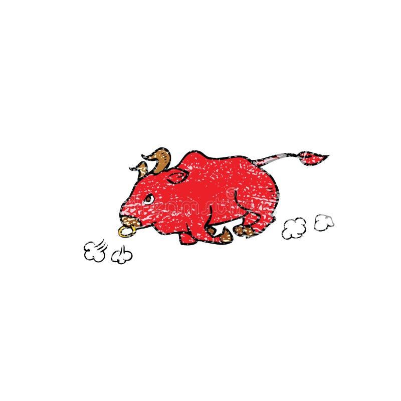Stieren lopende zegel stock illustratie