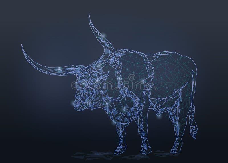 Stierenbuffels van lage polywireframe worden geïsoleerd die royalty-vrije stock fotografie