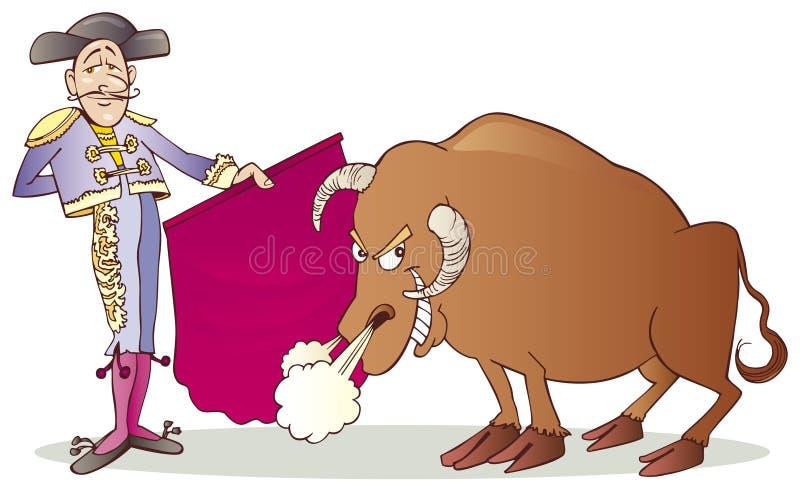 Stierenvechter en Stier royalty-vrije illustratie