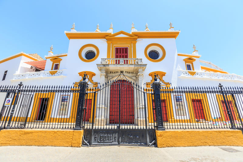 Stierkampfarena, plaza de Toros in Sevilla, La Maestranza stockfotografie