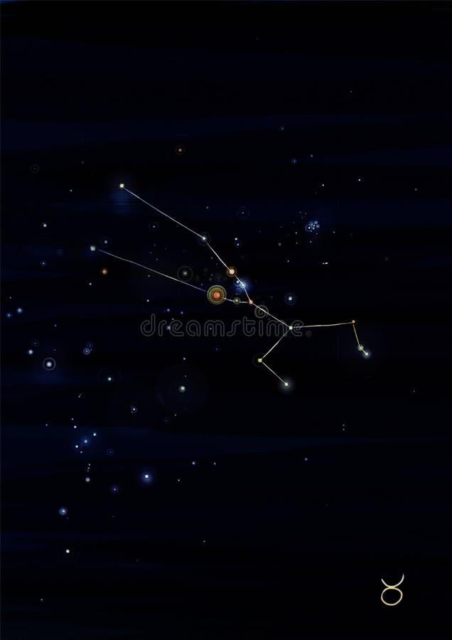 Stierkonstellationszeichnung auf seinem wirklichen Himmelstandort stockfotografie