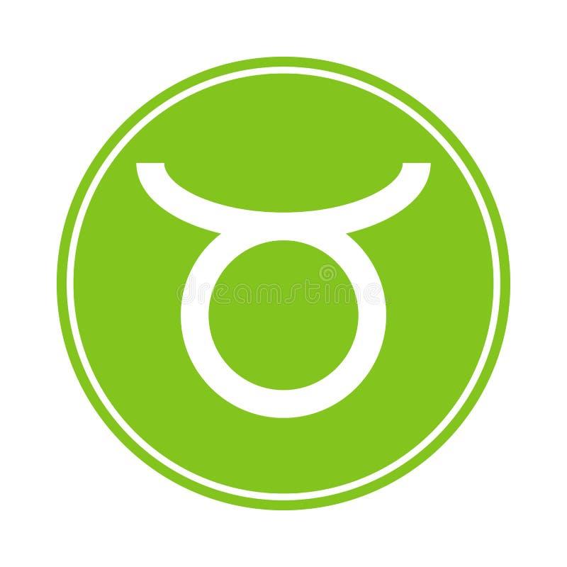 Stierpictogram Vector Astrologisch, Horoscoopteken Dierenriemsymbool Aardeelement sticker Vectordieillustratie op wit wordt geïso royalty-vrije illustratie