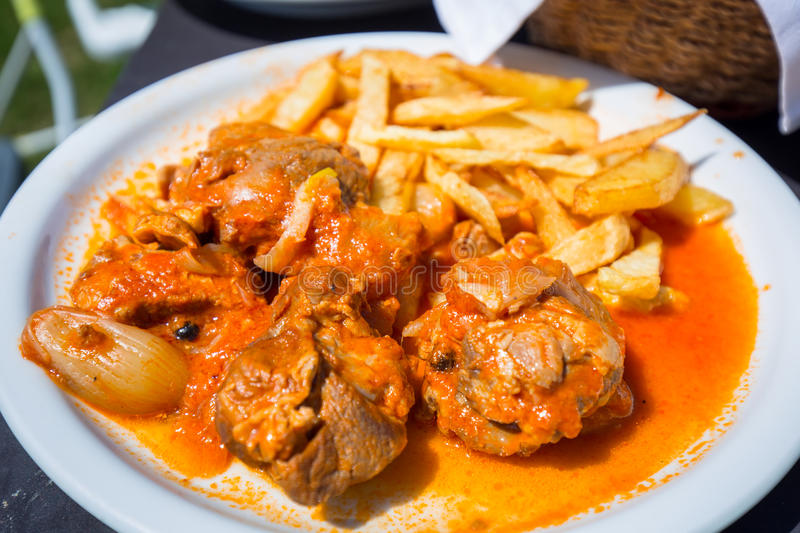 Download Stifado With Fries On The Plate Stock Photo - Image: 93602348