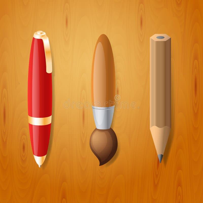 Stift-, Bleistift- und Bürstenikonen vektor abbildung