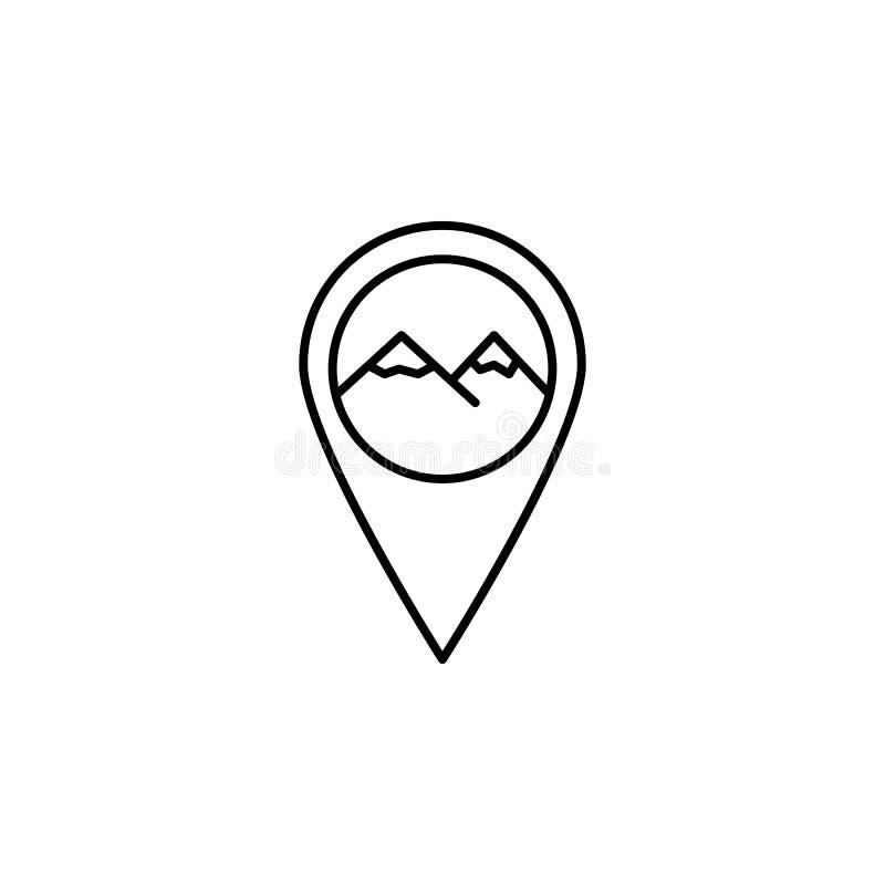 Stift geolocation, bergöversiktssymbol Beståndsdel av illustrationen för vintersport Tecknet och symbolsymbolen kan användas för  vektor illustrationer