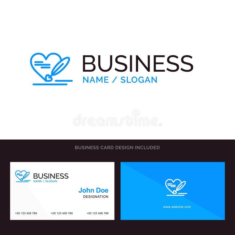 Stift, Liebe, Herz, Hochzeits-blaues Geschäftslogo und Visitenkarte-Schablone Front- und R?ckseitendesign vektor abbildung