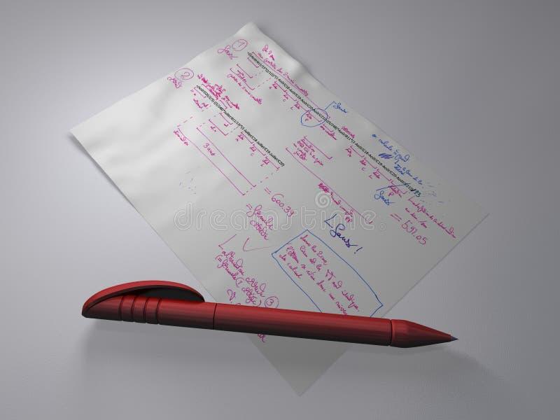 Stift und Dokument mit Formeln und Anmerkungen lizenzfreies stockbild