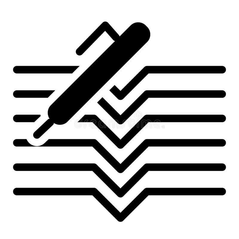 Stift- und Notizbuchkörperikone Dokumentenvektorillustration lokalisiert auf Weiß Schulnotizblock Glyph-Artdesign, entworfen lizenzfreie abbildung